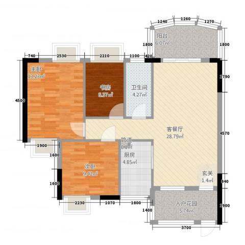丽日花园3室1厅1卫1厨111.00㎡户型图
