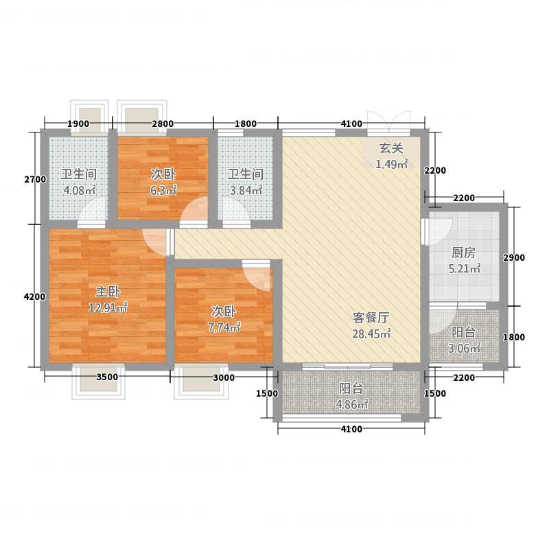 恒和国际15.53㎡C1户型3室2厅2卫1厨