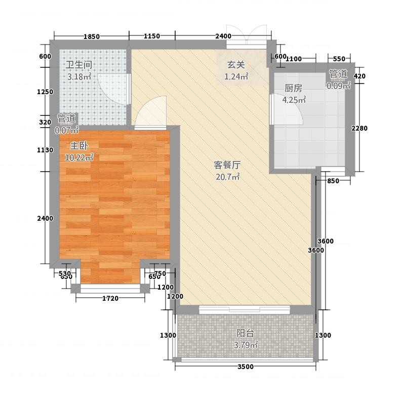 北京第九区5.73㎡户型1室1厅1卫1厨
