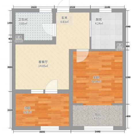 朗诗.绿色街区2室1厅1卫1厨64.00㎡户型图