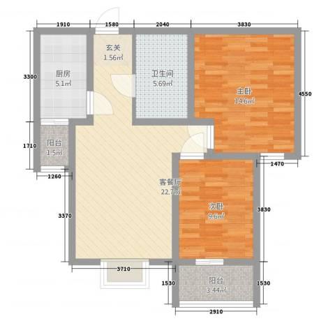 谐趣园2室1厅1卫1厨91.00㎡户型图