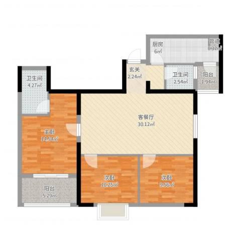 厦门千禧园3室1厅3卫1厨121.00㎡户型图