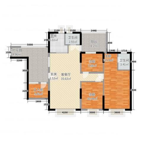 景山一号3室1厅2卫1厨141.00㎡户型图