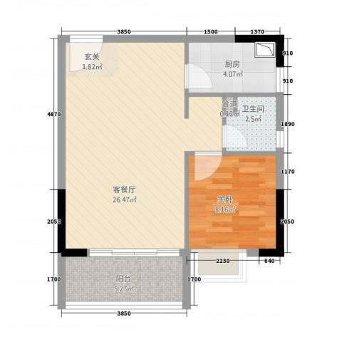 金沙假日广场1室1厅1卫1厨66.00㎡户型图