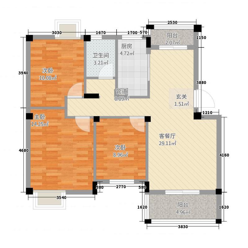 大华南湖公园世家11.15㎡二期爵色多层纯水户户型3室2厅1卫
