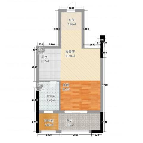 佛冈奥园温泉别墅1厅1卫0厨54.00㎡户型图
