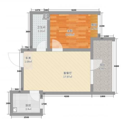 金谷庄园1室1厅1卫1厨53.00㎡户型图