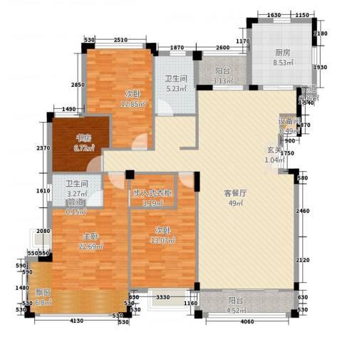 富新・国际豪城4室1厅2卫1厨132.91㎡户型图