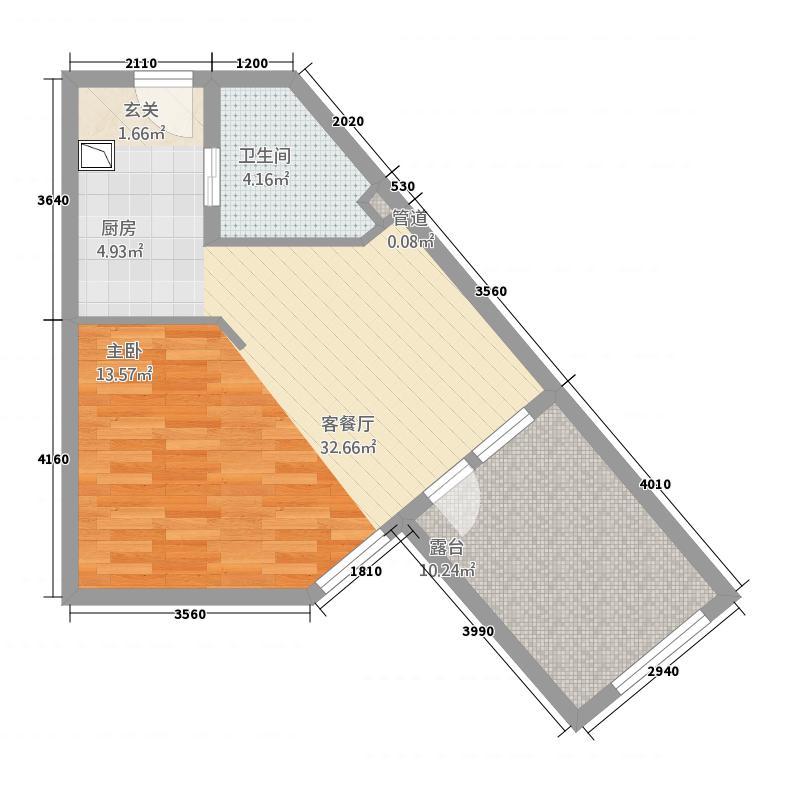 恒泰・时间海54.88㎡5号、6号楼D1户型1室1卫