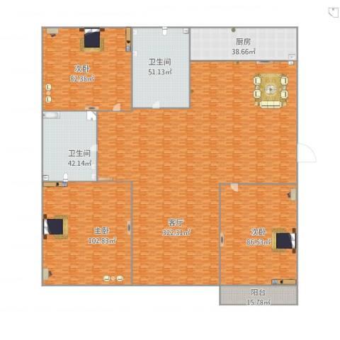 弘基书香园三期3室1厅2卫1厨951.00㎡户型图