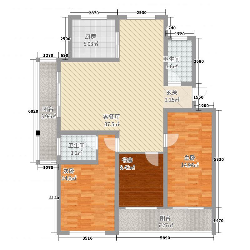 金城花园115.70㎡C副本户型3室2厅2卫1厨