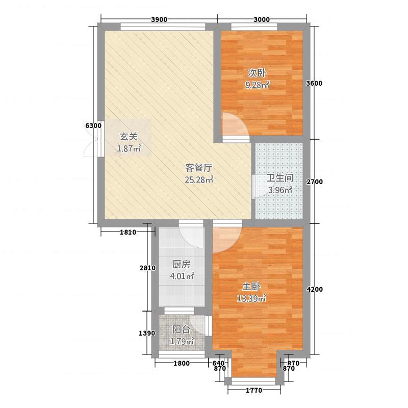 渤海玉园82.57㎡C-户型2室1厅1卫