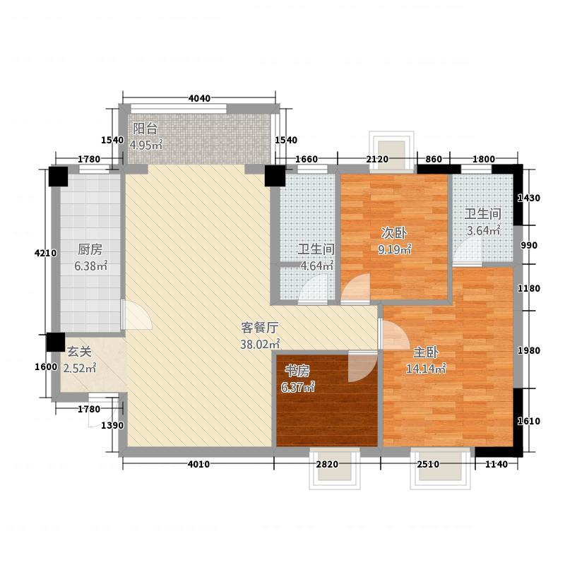 阳光家园c户型3室2厅2卫1厨