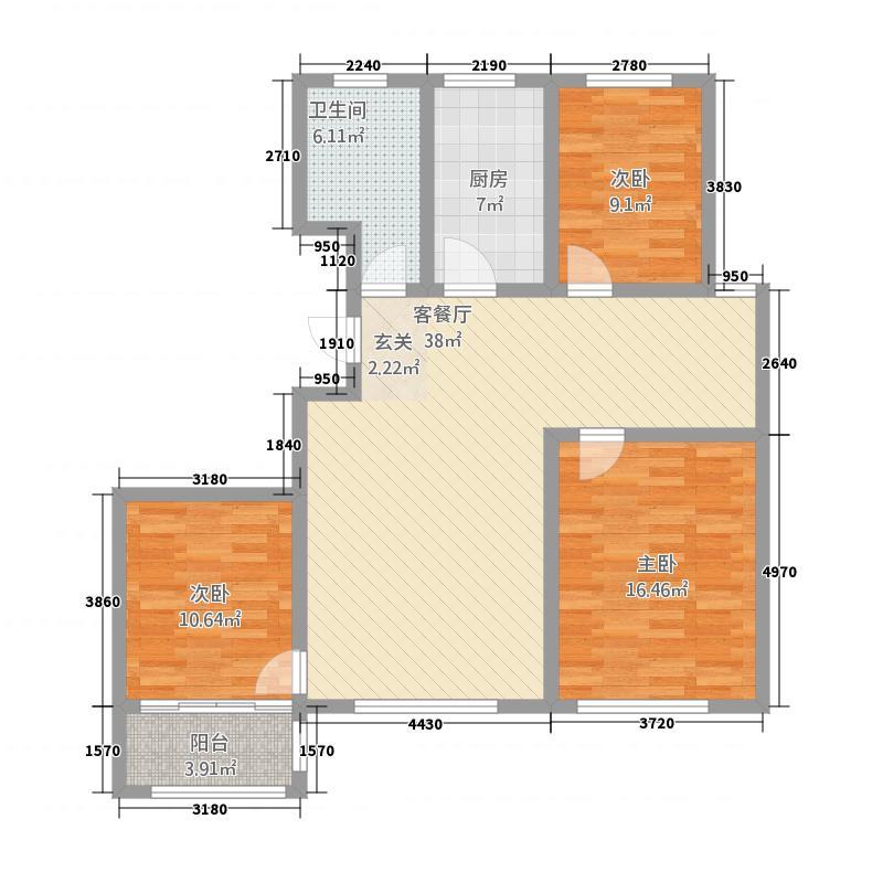 金色年华13.00㎡C户型3室2厅1卫1厨