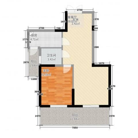 新加坡花园城1室1厅1卫1厨80.00㎡户型图