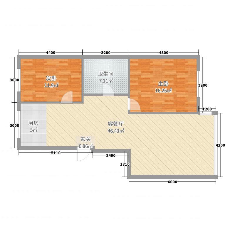 玫瑰港湾18.72㎡一期B户型2室2厅1卫1厨