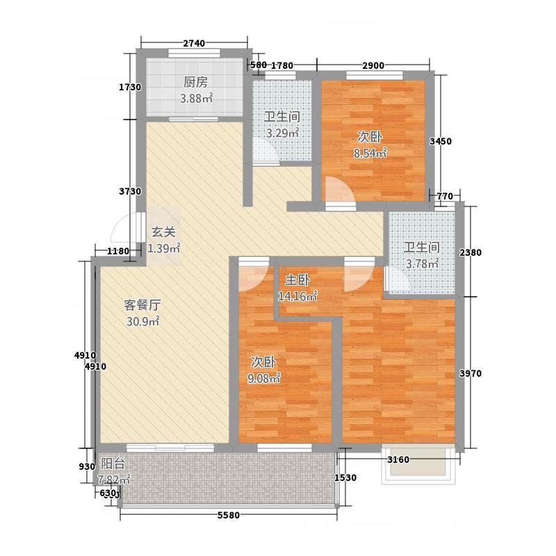 上海城117.00㎡2户型3室2厅2卫1厨
