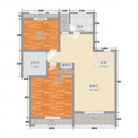 伟浩春天花园2室1厅1卫1厨154.00㎡户型图