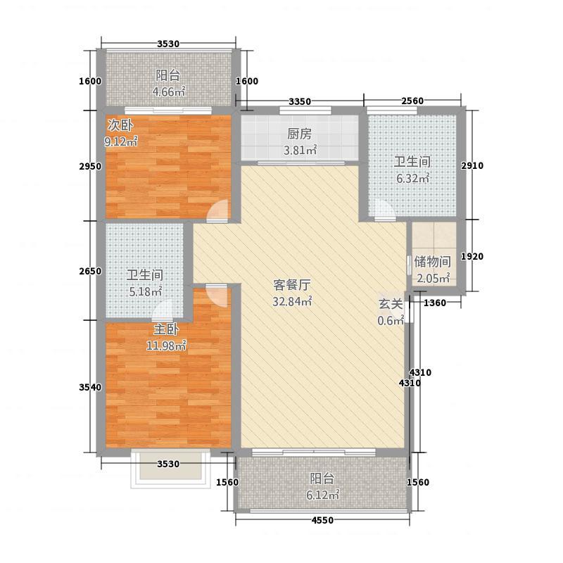 蔡甸同馨花园116.40㎡一期A-U户型2室2厅2卫