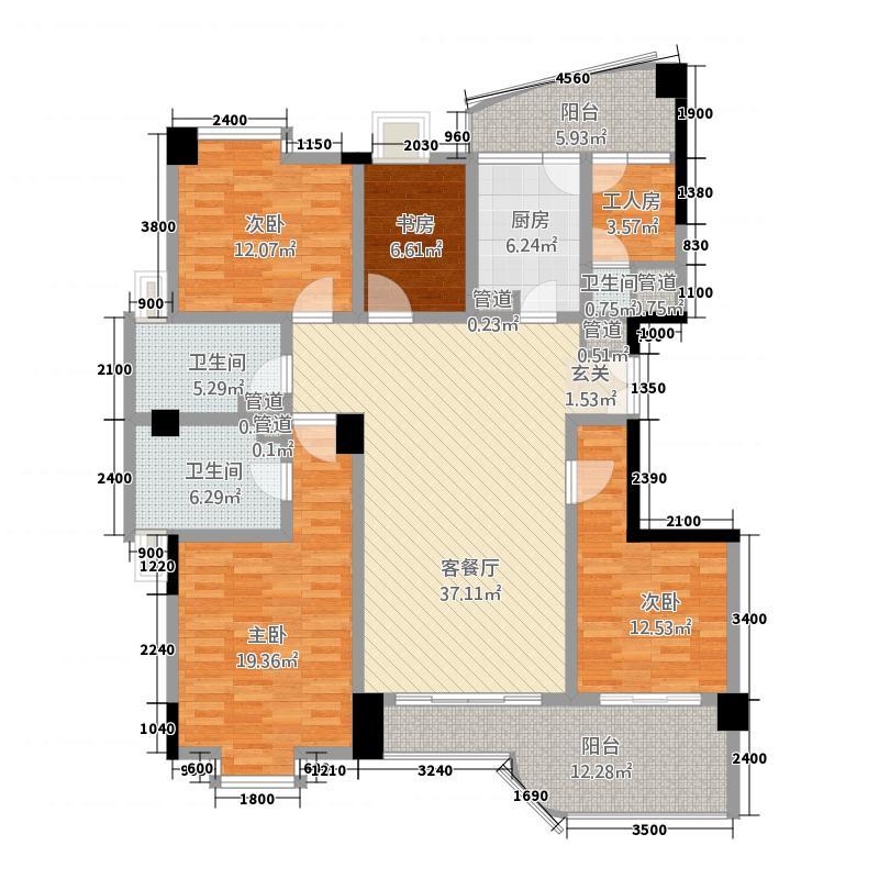 中央丽城162.84㎡J座一单元1-16层户型5室2厅3卫1厨