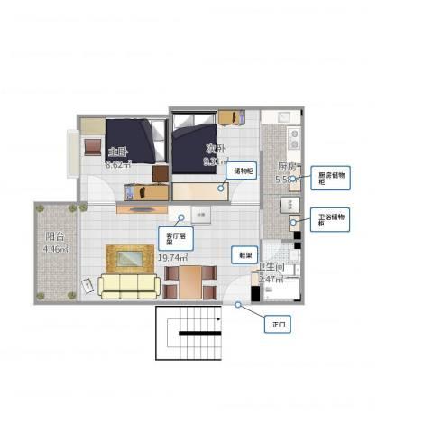 高胜花园2室1厅1卫1厨68.00㎡户型图