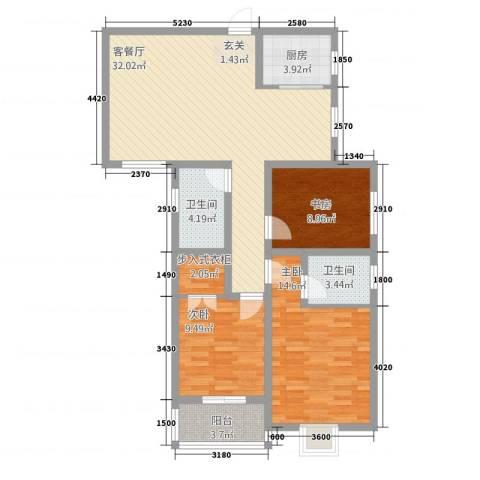 新盛时代3室1厅2卫1厨82.37㎡户型图