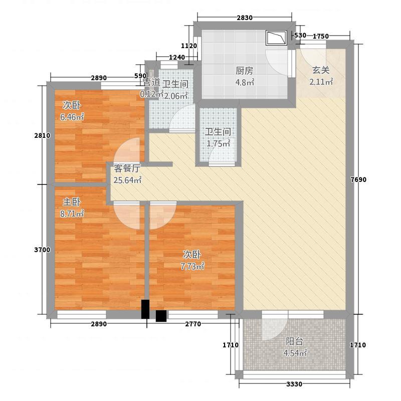 万科城花�苑二期13、14号楼3A户型