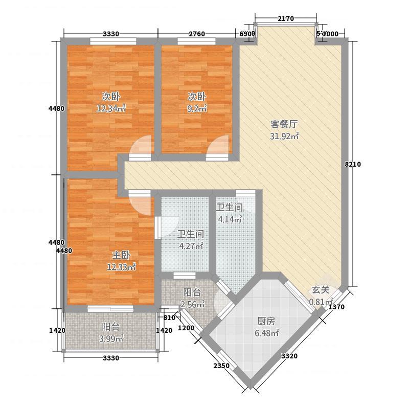 辰星翠屏颐景126.62㎡D户型3室2厅2卫1厨