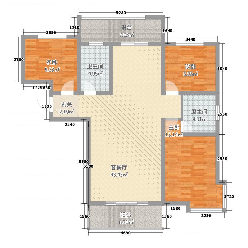 美居・丽景园143.21㎡E户型3室2厅1卫1厨