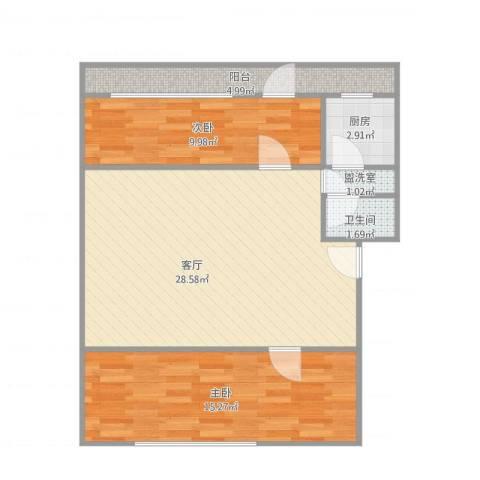 义宾北区2室2厅1卫1厨87.00㎡户型图