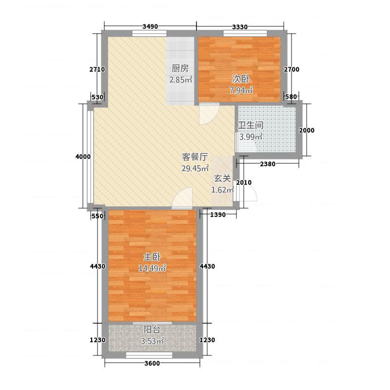 金山・世豪御苑置业单-创意两居-约89户型