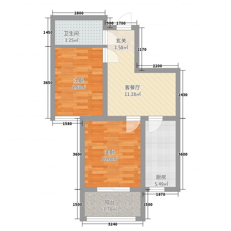 西泽园枫谷61.00㎡I1户型2室1厅1卫1厨