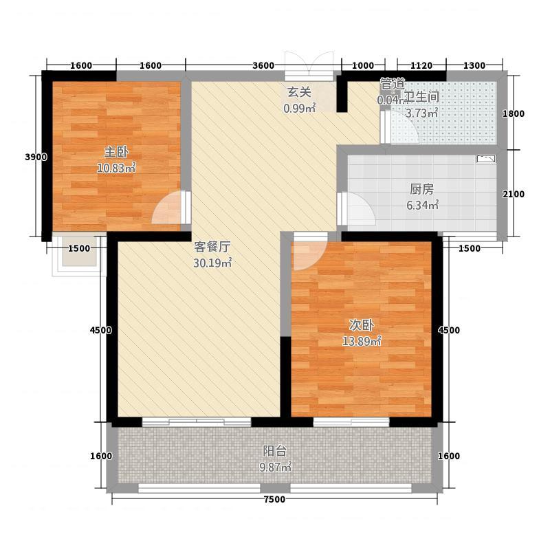 苏园丰景14.57㎡A2户型2室2厅1卫1厨
