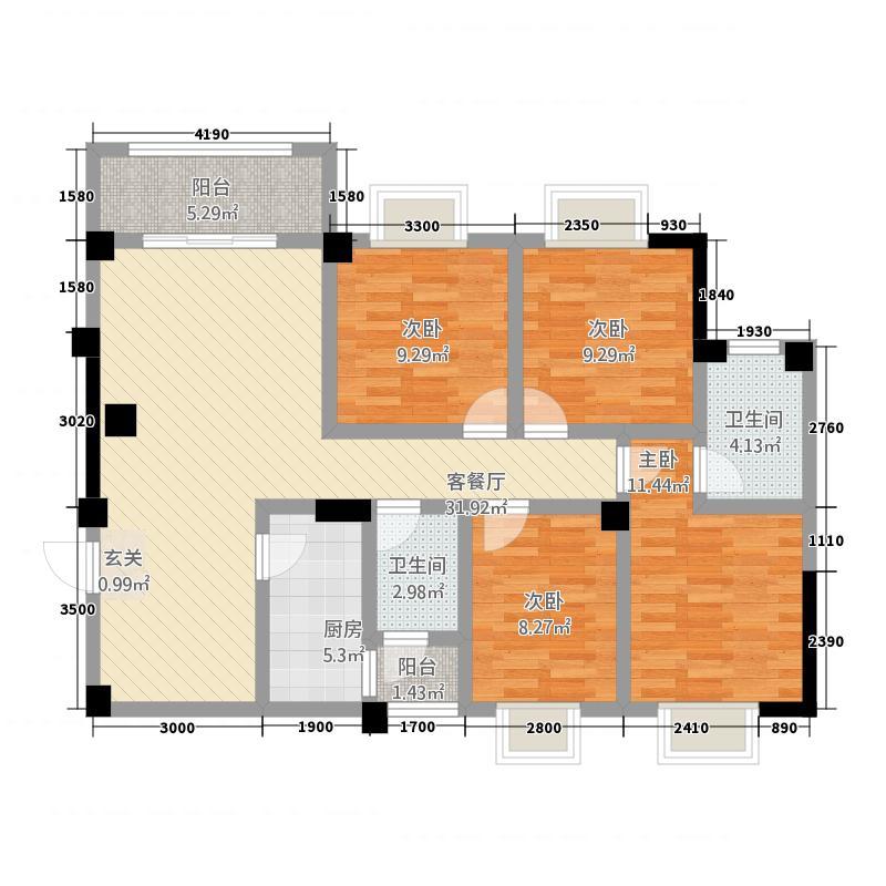 富乐领江124.10㎡B2户型4室2厅2卫1厨