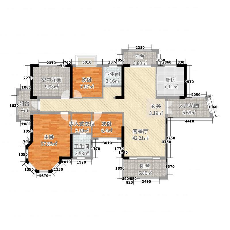 洞庭・美域152.16㎡G5栋D1户型3室2厅2卫1厨