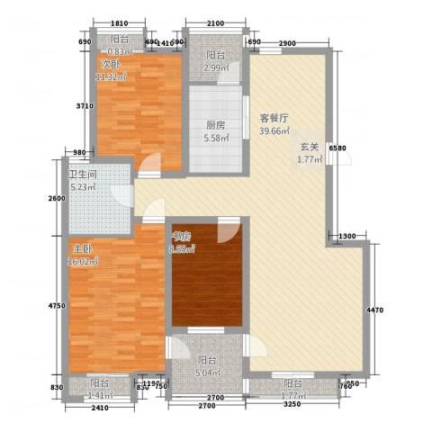 伟浩春天花园3室1厅1卫1厨141.00㎡户型图