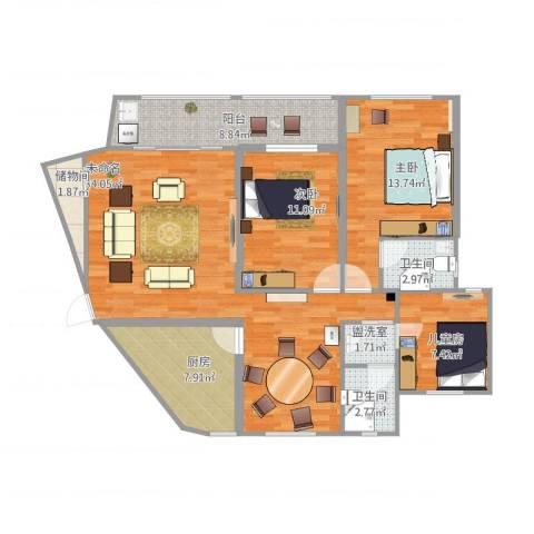 红苹果3室1厅2卫1厨129.00㎡户型图