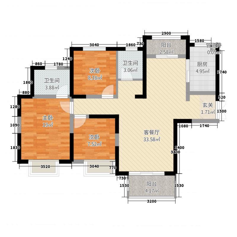 东方今典・高铁新城118.20㎡C户型3室2厅2卫1厨