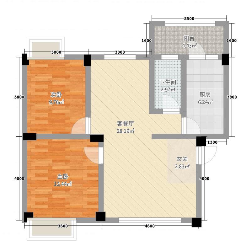 丹霞新城83.00㎡D户型2室2厅1卫1厨