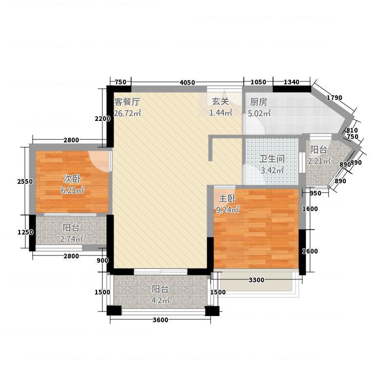 金港1号78.00㎡1栋02/05户型2室2厅1卫1厨