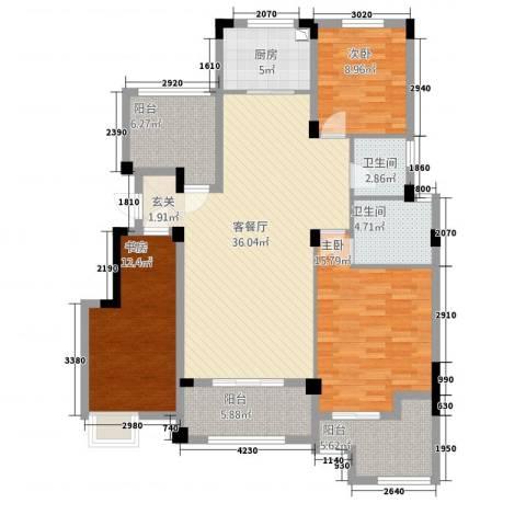 金鹏・爱丽舍宫3室1厅2卫1厨103.53㎡户型图