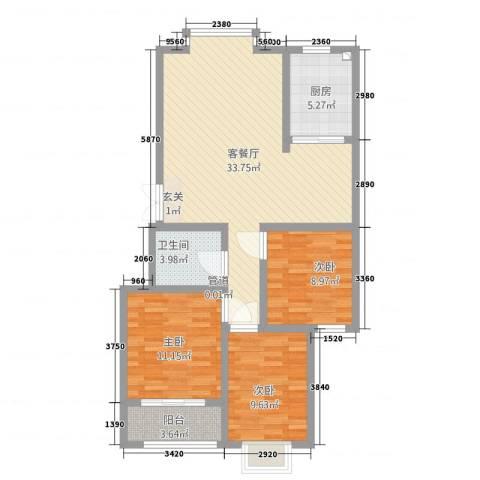 汇洋・龙湾3室1厅1卫1厨112.00㎡户型图