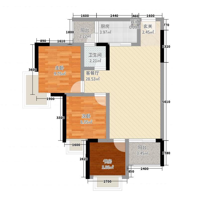信德・观天下12.20㎡1-2号楼D、E单卫带书房户型