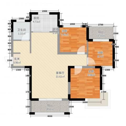 鼎雄・新里城3室1厅1卫1厨71.99㎡户型图