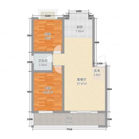江滨鑫城2室1厅1卫0厨104.00㎡户型图