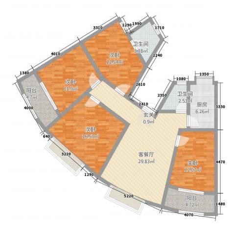 江滨鑫城4室1厅2卫1厨151.00㎡户型图