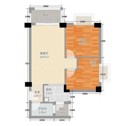 幸福港湾三期2室1厅1卫1厨70.00㎡户型图