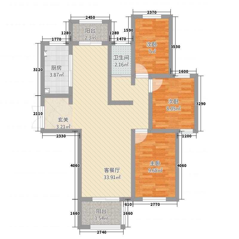 西平建业森林半岛116.20㎡户型3室2厅1卫1厨