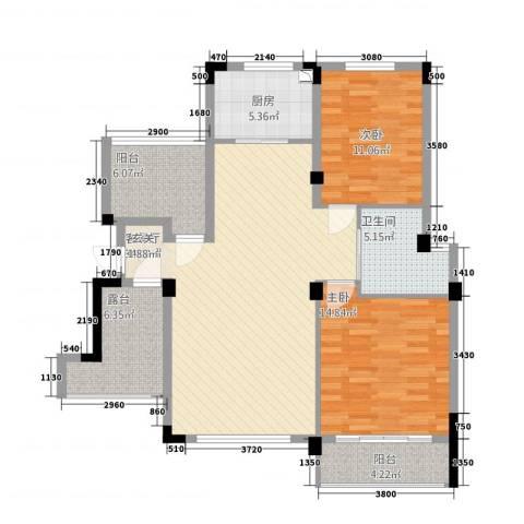 金鹏・爱丽舍宫2室1厅1卫1厨87.97㎡户型图