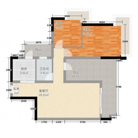 城中园2室1厅1卫1厨78.14㎡户型图